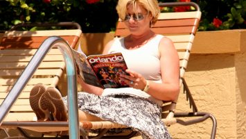 Amy Caterina, of San Diego, California, relaxes by a pool in Orlando, Florida, where she underwent surgery for lymphedema in her right leg.  Caterina is one of a growing number of Americans taking part in domestic medical tourism.  After researching doctors online, Caterina decided to make the 2,500 mile journey to have surgery at UF Health Cancer Center - Orlando Health.  For more on her surgery and the medical tourism trend, click here: bit.ly/1tBspdS